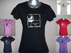 NEW-TALK-TO-THE-HOOF-LADIES-FUNNY-HORSE-T-SHIRT-S-M-L-XL-XXL-PLAIN-GLITTER