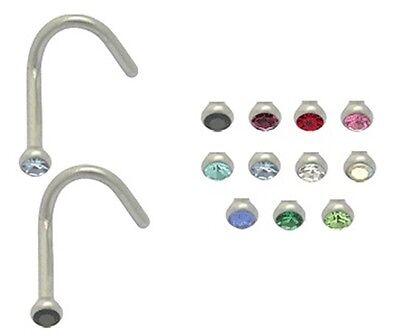 New Surgical Steel Hook Nose Screw Stud with Gem 1mm UK Seller