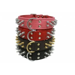 """Angel Genuine Leather Spiked Dog Collar - Size 12"""" - 28"""" - Stainless Hardware"""