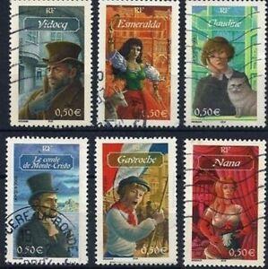 Annee-2003-Serie-Destinees-romanesques-n-3588-a-3593-obliteres