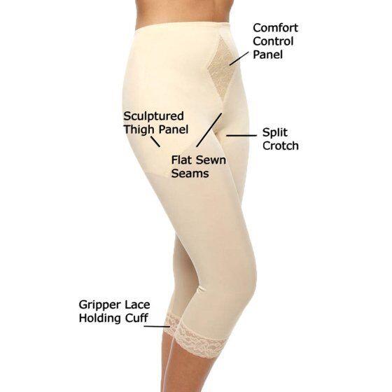 Rago Shapewear Diet Minded Mid-Calf Capri Beige Pant Liner Size 32XL