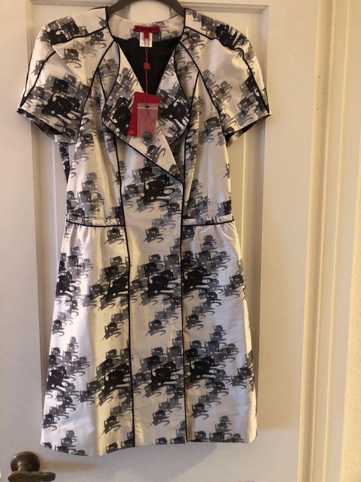Vivian Tam 100.% Silk Print Dress NWT Size 4