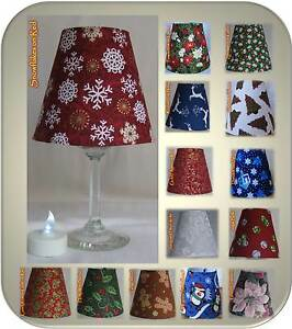 christmas winter small fabric wine glass lamp shade tea. Black Bedroom Furniture Sets. Home Design Ideas