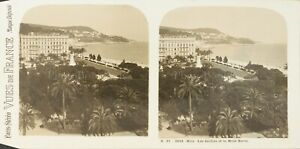 FRANCE-Nice-Les-Jardins-et-Le-Mont-Boron-Photo-Stereo-Vintage-Argentique-PL62L11