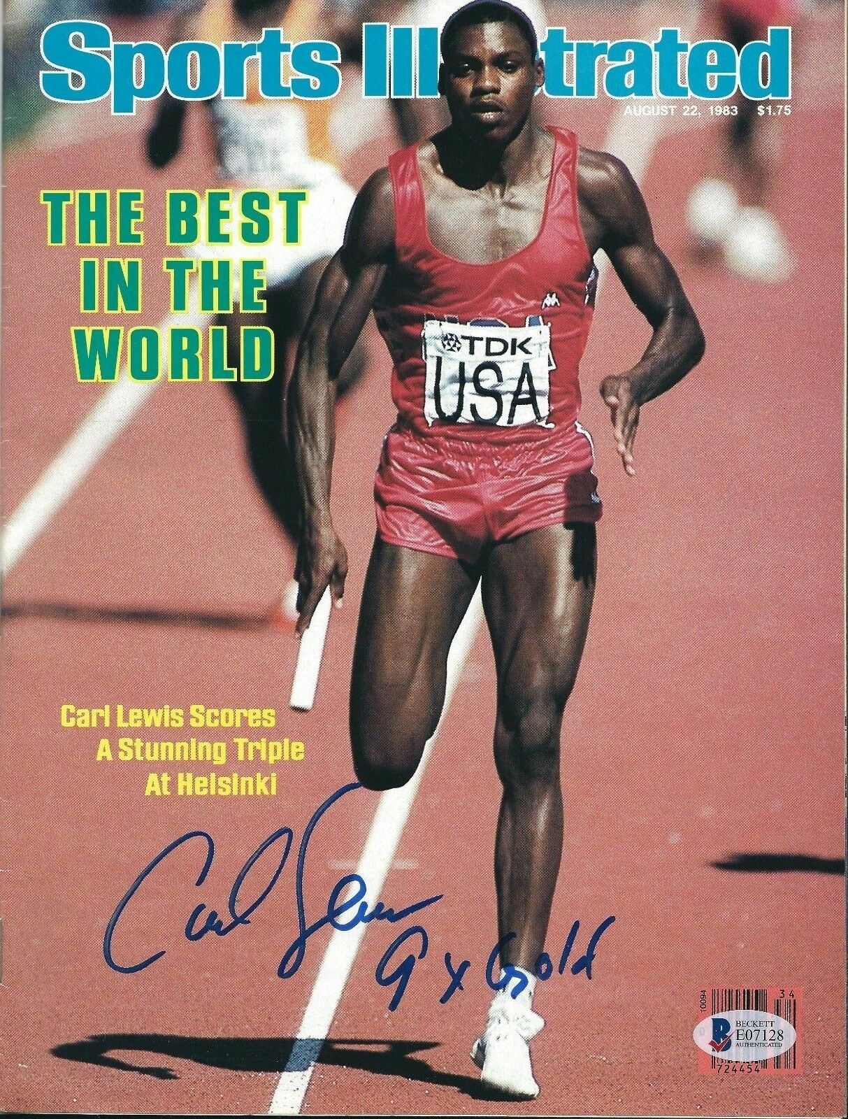 Carlos Lewis Signed Sports Illustrated Magazine