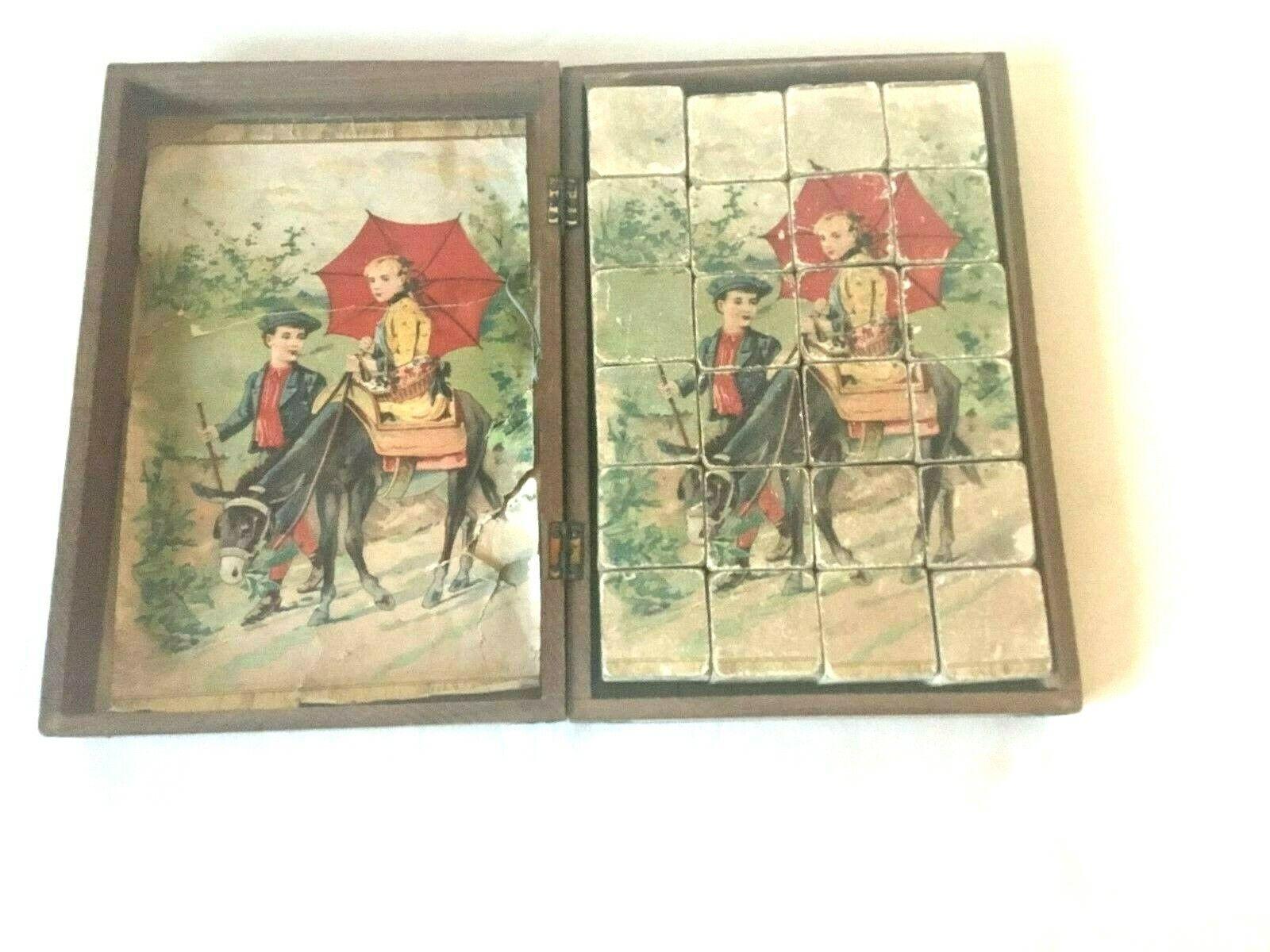Antik Würfel Puzzles Holz ca. 1900 in Holzschatulle  | Verschiedene Arten und Stile