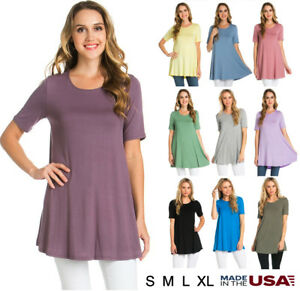 Womens-Basic-Solid-Round-Neck-Short-Sleeve-Tunic-Top-Shirt-Dress-S-M-L-XL-USA