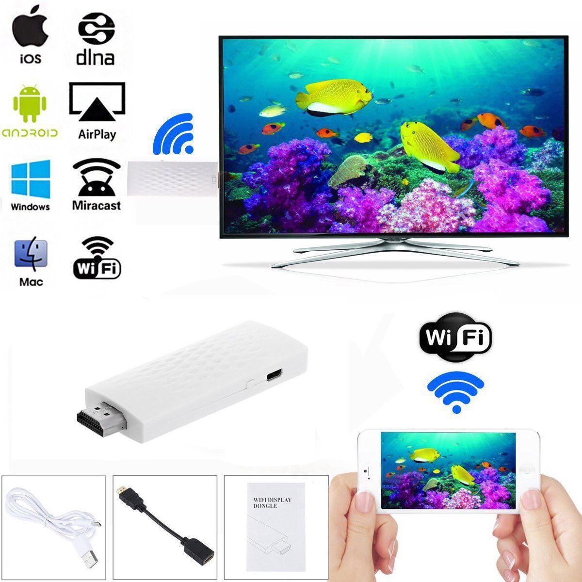 Wireless HDMI Wifi Allshare Phone Screen To TV Dongle Airplay Mirror Display