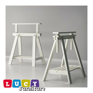 Image Is Loading 2x Ikea Finnvard Trestle With Shelf For Office