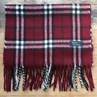 BURBERRYS OF LONDON ! MENS WOMENS VINTAGE CLASSIC CHECK RED LAMBSWOOL SCARF !