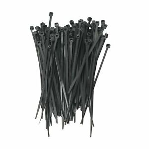 100 PACK 6 INCH ZIP TIES NYLON BLACK 40 LBS UV WEATHER RESISTANT WIRE CABLE