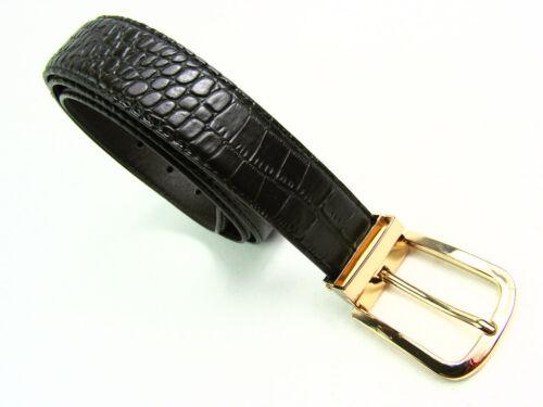 """Da Uomo Alta Qualità Cintura NERA COCCODRILLO Grana dorati fibbia in metallo 1.25/"""" casual formale"""