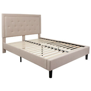 Roxbury Queen Size Tufted Upholstered Platform Bed In Beige Fabric 889142227373 Ebay
