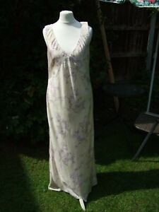 Ladies Dress Size12 By Austin Reed In Cream Lilac Print 100 Silk Maxi Length Ebay