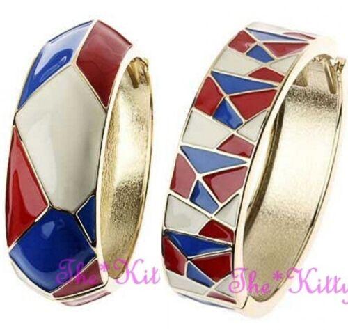 Geometrischer Mosaik Rot Weiß Blau Farbblock Klappbar Oval Emaille Gold