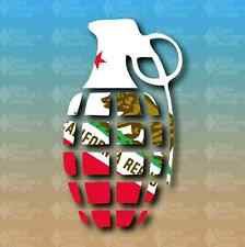 "California State Flag Bear Grenade 6"" Snowboard Custom Vinyl Decal Sticker"
