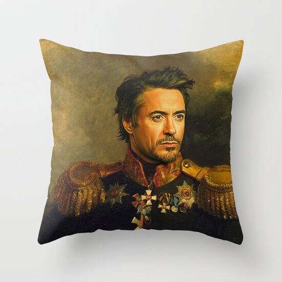 Captain Robert Downey Jr. Decorative Pillow Case Art Print Throw Pillow Sham