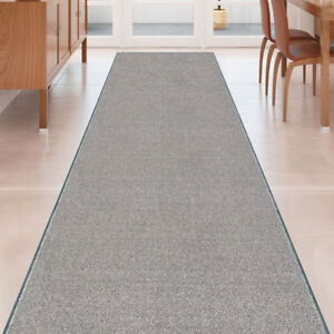 Custom-Size-SOLID-GREY-Stair-Hallway-Runner-Rug-Non-Slip-Rubber-Back-GRAY
