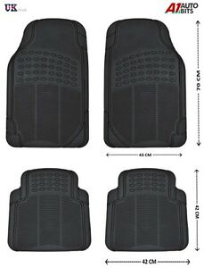 New 4pcs Black Car Floor Mat Set Front Rear Non-Slip Universal Car Carpet Grip