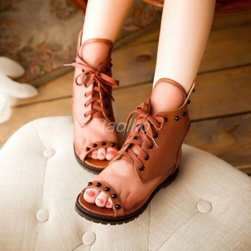 Chic Womens Rivet Mesh Summer Open Toe Roman Sandal Boots Lace UP Back Zip Shoes