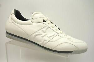 Salvatore-Ferragamo-White-Leather-Logo-Casual-Athletic-Sneakers-Shoes-Men-039-s-15-D