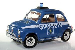 Details About Bburago Fiat 500 Police Polizia Gold Collezione 1 18 Blue 18 12067