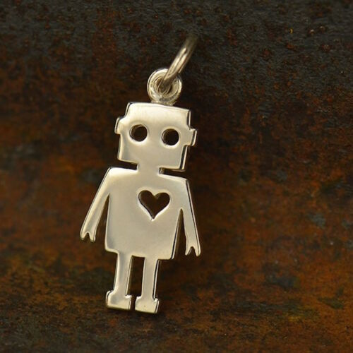 925 Sterling Silver Robot Tin Man Heart Charm Pendant Necklace Sci Fi Space 1580