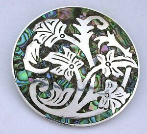 .925 Sterling Silver Floral Abalone Round Pin Pendant Brooche Brooch ebs5132