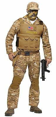 Mens Navy SEAL Costume Military Camouflage Suit Army Camo Seals Halloween Adult