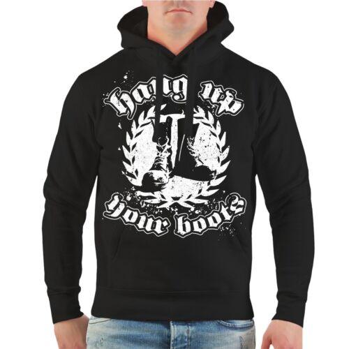 Con cappuccio Pullover hang up your boots hoodie oi ska naziskin Pogo Skins Hardcore
