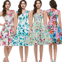 Vintage Retro Style 50s 60s Floral Causal Evening Party TEA Dress Swing Pinup XL