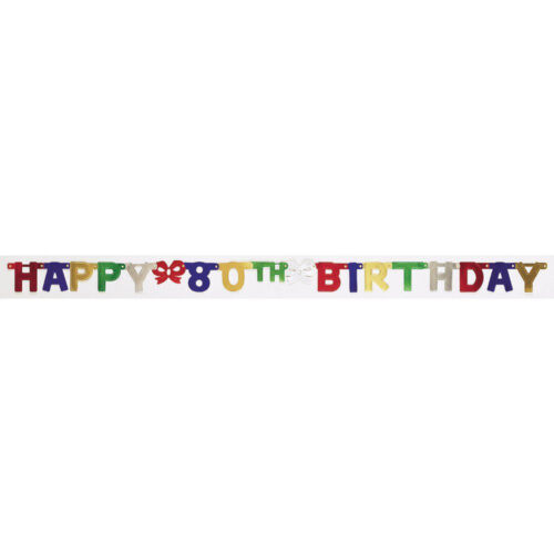 Party Decoration Jointed Banner Happy 80th Birthday 6.5 feet long multicolor