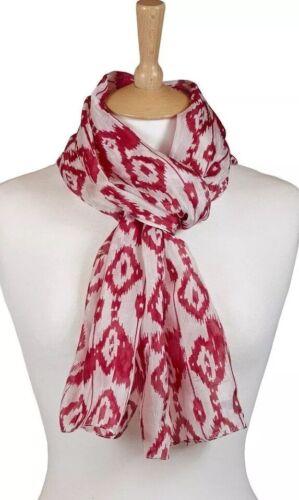 Quintessential ladies 100/% Pure Silk luxury Scarf Printed In Ikat Red 33x170cm
