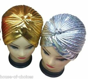 LADIES-GOLD-SILVER-STRETCHY-INDIAN-TURBAN-PLEATED-HEAD-WRAP-CHEMO-CLOCHE-B4