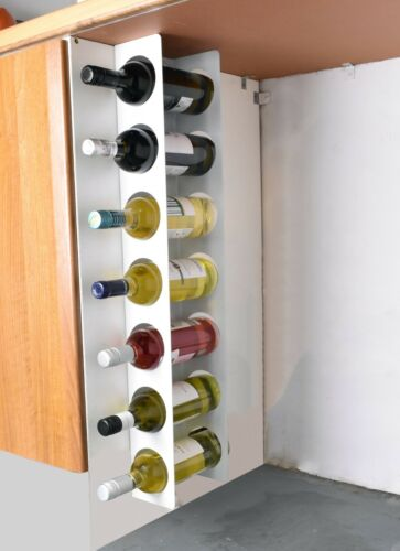Wall Cabinet Mounted Steel Narrow Wine Rack 7 Bottle Holder Storage Light Grey