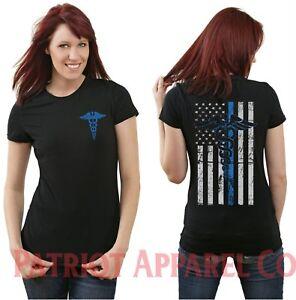 Women-039-s-Nurse-Blue-Line-EMS-EMT-Paramedic-Emergency-Medical-T-Shirt-Nurses-ER