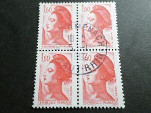 FRANCE BLOC timbres 2187 LIBERTE' DELACROIX, oblitéré 1982 cachet rond, QUARTINA