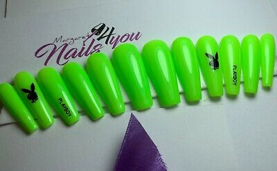 A Set Of Hand Painted Neon Green False Nails With Stamp Coffin Playboy Ebay