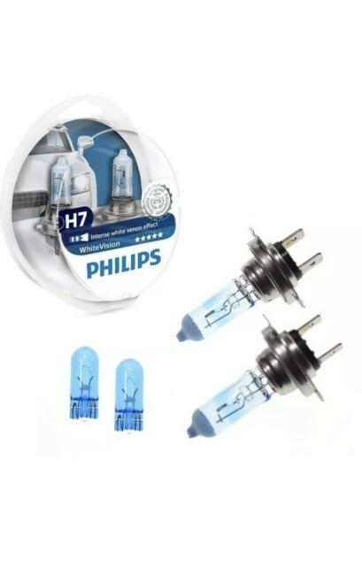 2 ampoules H7 12V 55W +60% éclairage + 2 x W5W Philips WhiteVision culot PX26d
