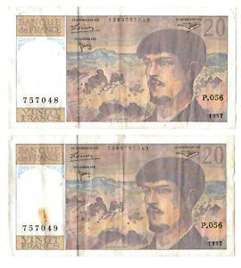 France 2x20 Francs Billet 1997 De Série Consécutifs No. S-afficher Le Titre D'origine 43i3y1gz-08002445-705421701