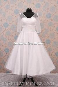 1340-short-tea-length-knee-wedding-dresses-Sleeved-polka-dot-size-8-10-12-14-16