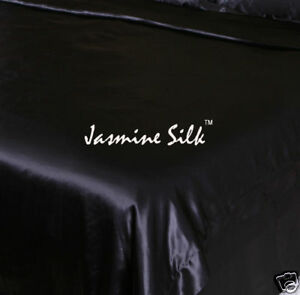 Jasmine-silk-100-19-mm-Charmeuse-Seide-Bettbezug-Schwarz-King