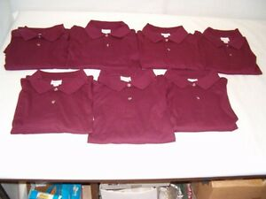 Lot-of-7-Size-XXXLarge-Burgundy-Anvil-Brand-Short-Sleeve-Polo-Shirts-NEW
