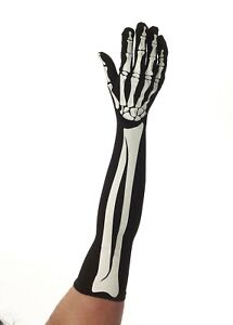 Halloween-Corps-Squelette-Long-Noir-Gants-Deguisement-Horreur-Accessoire-Fete