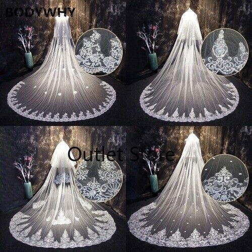 4 Meters One Layer Lace Tulle Long Wedding Veil White 4 M Bridal Veil with Comb