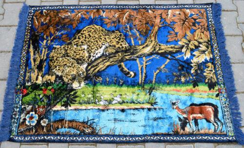 """Léopard à la chasse Mur Tapis kilim 39/"""" X 54/"""" Vintage Tapisserie 98 cm x 136 cm"""