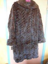 Suave Vintage Década de 1940/años 50 esculpido Abrigo de piel talla 12 -14 Cuello Chal Goodwood