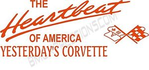 Heartbeat of America Yesterday Corvette C3 Vinyl Decal Your Color Choice Sticker