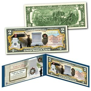 TOMB OF THE UNKNOWN SOLDIER Arlington National Cemetery Genuine U.S. $2 Bill