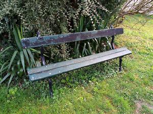 Ancien Banc De Jardin époque 1900 Piètement En Fonte Assise En Bon